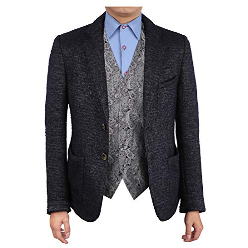 Epoint EGC1B02D-2XL Grey Black Patterned Lowest Price Waistcoat Woven Microfiber Valentine Gift for Him XX-Large Vest (Best Price Mens Vests)