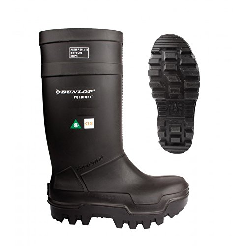 Dunlop E65203307 Purofort Thermo+ Full Safety Omega/EH Cold Protection Boot, Premium Insole, -58°F Cold Insulation, Steel Toe Cap, Black, Size 10 by Dunlop Protective Footwear