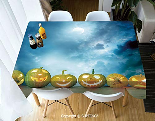 Square tablecloth Spooky Halloween Pumpkins on Wood Table Dramatic Night Sky Print Decorative (55 X 72 inch) Great for Buffet Table, Parties, Holiday Dinner, Wedding & More.Desktop -