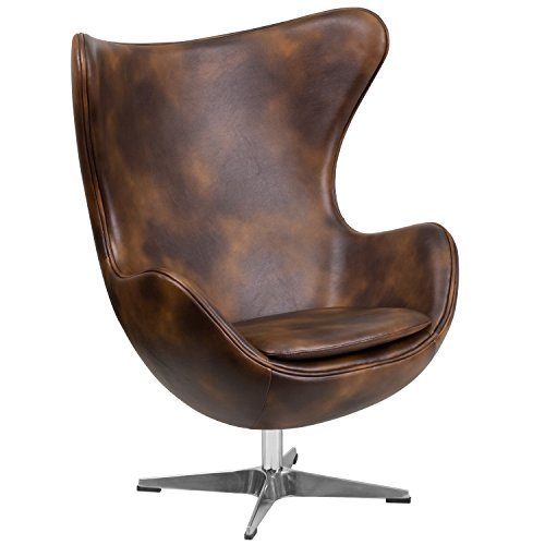Flash Furniture Bomber Jacket Leather Egg Chair with Tilt-Lock Mechanism