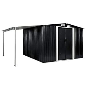 vidaXL 12x8 Metal Shed with Side Cover