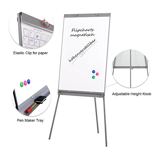 Swansea Adjustable Flipchart Easel Dry Erase Boards Magnetic Tripod Whiteboard 40X26 inches with 2 Side Arms by SwanSea (Image #1)
