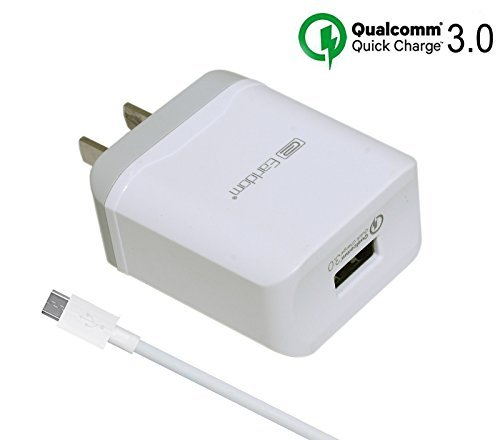 [Quick Charge 3.0] Rapid Fast Wall Charger Compatible LG V10 G4 G Flex 2,HTC One M9 A9,Nexus 6,Samsung Galaxy S6 S7 Edge Plus,Note 5,Sony,Moto,ASUS Phone (3.3ft Micro USB Cable Included) (Samsung Galaxy S7 Vs Moto X Pure)