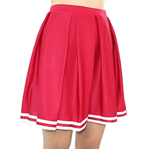 Danzcue Girls Knit Pleat Cheerlearding Uniform Skirt, Scarlet/White, Large