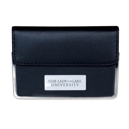 OLLU Leather Black Business Card Case 'OUr Lady of the Lake University Flat Engraved' by CollegeFanGear