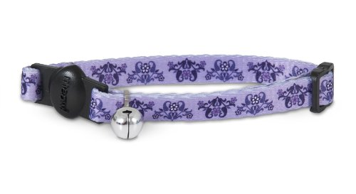 Aspen Cat Bell (Aspen Pet 11409 Cat Collar for Pets, 3/8 by 8 to 12-Inch, Damask Heart Purple)