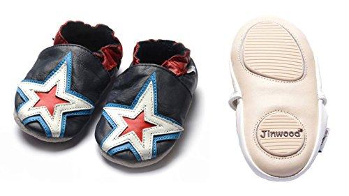 Jinwood designed by amsomo 12 Verschiedene Modelle - Jungen - Maedchen - Hausschuhe - Echt Leder - Lederpuschen - Krabbelschuhe - Soft Sole/Mini Shoes DIV. Groeßen 17/19-35/36 stars navy mini shoes