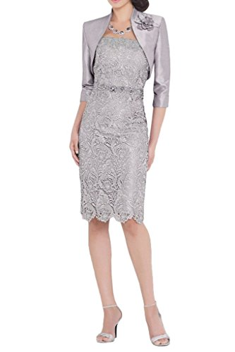 Vienna Bride Short Mother Of Bride Dress With Jacket 1/2 Sleeves Knee-Length