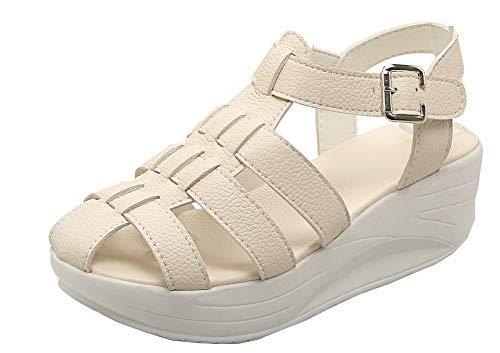 VogueZone009 Women Open Toe Buckle Pu Solid Kitten-Heels Sandals,CCALP012155 Beige