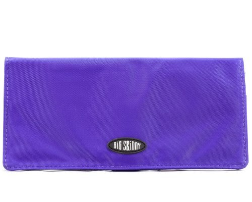 Big Skinny Women's Executive Bi-Fold Checkbook Slim Wallet, Holds Up to 40 Cards, Purple