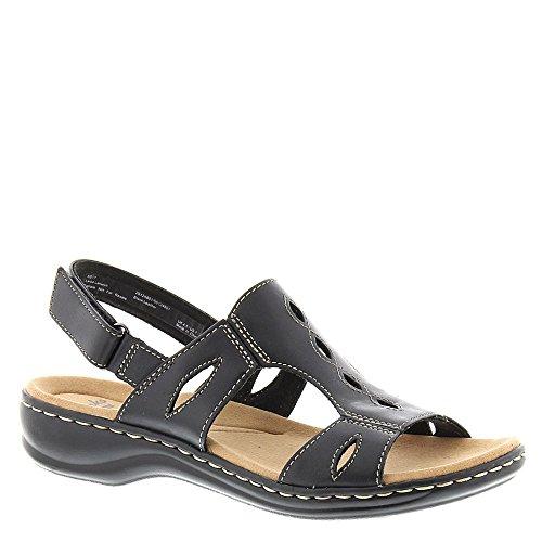 (CLARKS Women's Leisa Lakelyn Cutout Slingback,Black Leather,US 6.5 W)