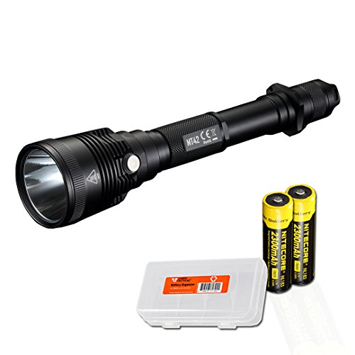 Nitecore MT42 1800 Lumen Long Throw Hunting & Search Flashlight with 2X Rechargeable Batteries and LumenTac Battery Organizer