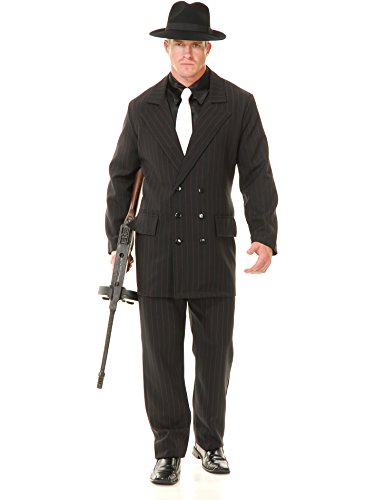 Charades Men's Gangster 6 Button Double Breasted Suit,