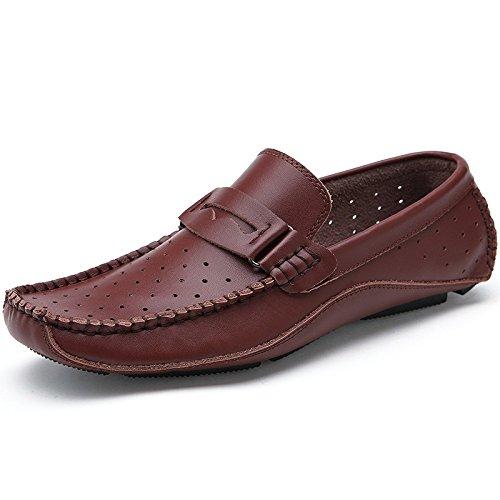 Männer Freizeitschuhe Mode Hohl Atmungsaktiv Freizeitschuhe Treiber Schuhe Brown
