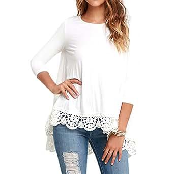 3e8ff77fc59de Comfy Women s Cotton 3 4 Sleeve Crew Neck Lace Trim Blouse Tops at Amazon  Women s Clothing store