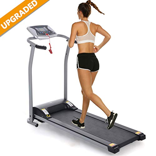 Aceshin Electric Folding Treadmill Power Motorized Walking Jogging Running Machine Cardio Fitness Exercise Equipment Space Saving for Home Gym Easy Assembly (1.5HP - Silver)
