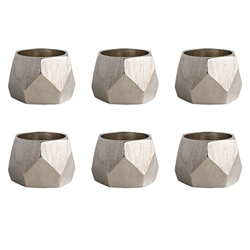DII Contemporary Chic Napkin Rings for Dinner Parties, Weddings Receptions, Family Gatherings, or Everyday Use, Set Your Table With Style - Silver Geometric Triangle Band, Set of 6 ()