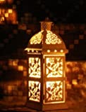 Ryocas Decorative Candle Lantern - Moroccan Style Square White Carved, 13-Inch