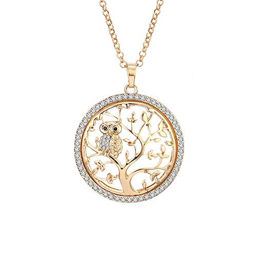 Necklace tree of life gold for women men crystal jewelry with owl pendant
