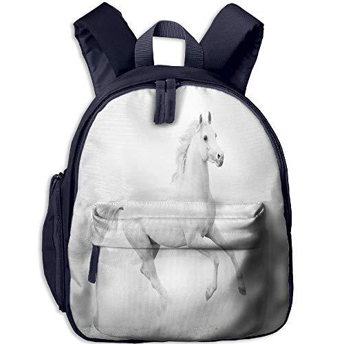 (Haixia Child Boys&Girls Bookbag with Pocket Black and White Decorations White Stallion Running Horse Gallop Motion Speed Equestrian Decorative White Black)