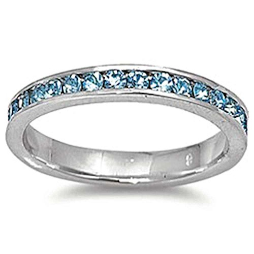 Blue Apple Co. 3mm Channel Set Full Eternity Wedding Band Ring Round Simulated Aquamarine 925 Sterling Silver, Size - 7 (Set Band Channel Eternity)