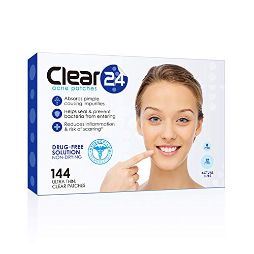 Clear24 Ultra Thin Acne Pimple Cover Patch - Ideal For Day Use, 144 Patches
