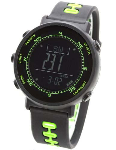 [LAD WEATHER] digital quartz swiss sensor weather forecast climbing running walking altimeter barometer Thermometer Black Green Polyurethane Round Watch