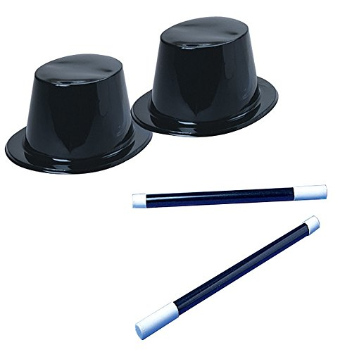 (U.S. Toy Black Top Hat & Magic Wand Toy Party Favor Supplies Set for 12 Bundle 24 Pieces)