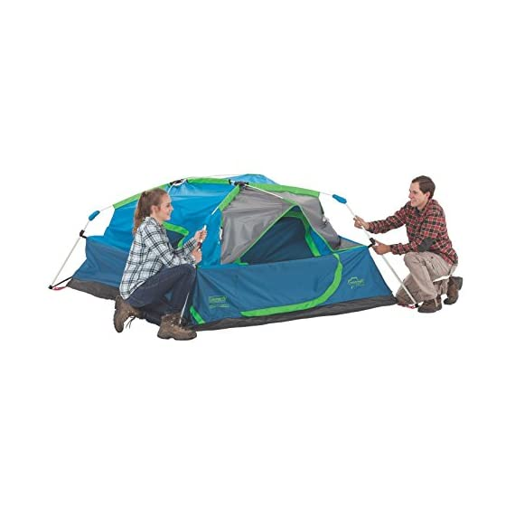 Coleman Camping Instant Signal Mountain Tent 5 Weather Tec system - patented welded floors and Inverted seams help keep water out Instant setup in about 60 seconds. Pre-attached poles for quicker, simpler setup - just extend and secure Integrated rainfly doesn't require separate assembly