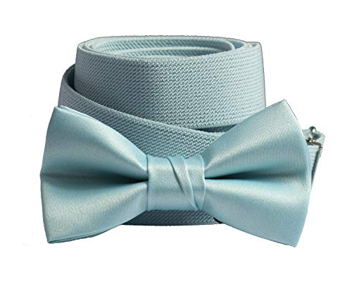(Matching Adjustable Suspender Bow Tie Sets in Toddler Boys Youth & Adult Sizes (Light Blue, Toddler 25