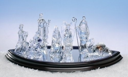 8-Piece Icy Crystal Religious Christmas Nativity Figurine Set