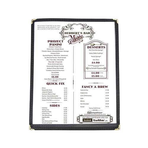 (10 Pack) Single Menu Covers, Black, 8.5 x 11-inches Insert, 2 View, Restaurant Menu Covers with Double Stitched Binding and Protective Corners
