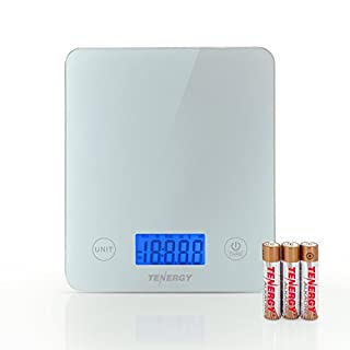 Tenergy Digital Kitchen Scale, Touch Sensitive Food Scale with Backlit LCD Display and Tare Function, Tempered Glass Scale for Cooking/Weight-Loss/Baking, 11lb 5kg, Batteries Included