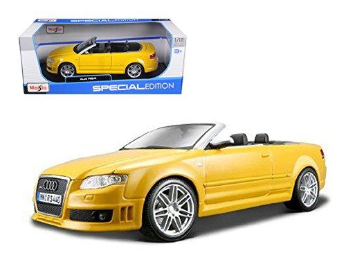 Maisto 31147 2008 Audi RS4 Convertible Yellow 1/18 Diecast Model Car