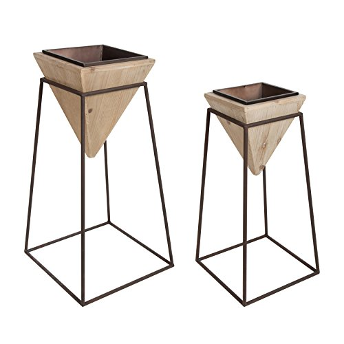 Kate and Laurel Theah Decorative Wood and Metal Geometric Planter Stands with Pots, Set of 2, Natural Wood and Bronze ()