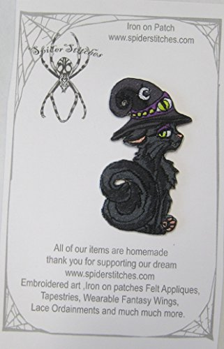 Witch Kitten Black Witchy Cat Magik Witch Hat Iron On Patch -