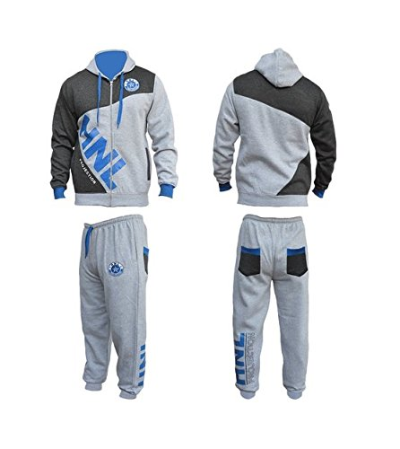 Mens Children HNL Projection Hooded Track Suits Fleece Jogging Suits (Small, Grey/Blue) UK