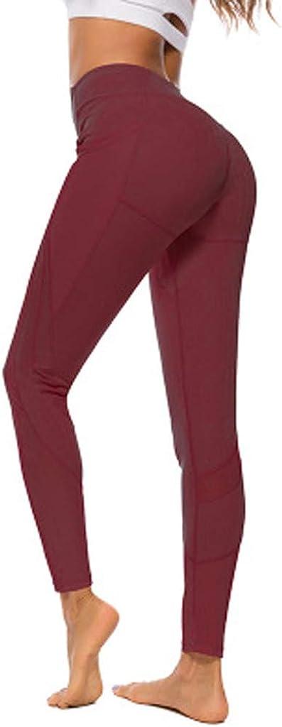 Toraway Fashion Ladies Pure Color Gauze Pocket Elastic Fitness Running Yoga Pants Women Exercise Pants