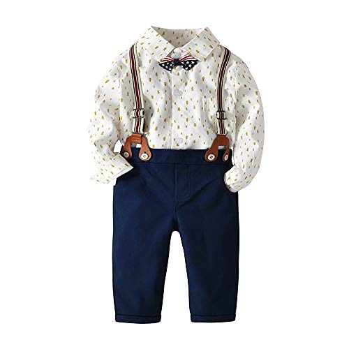 Baby Boys Gentleman Bowtie Long Sleeve Shirt Suspender Straps Pants Clothing Sets Outfit