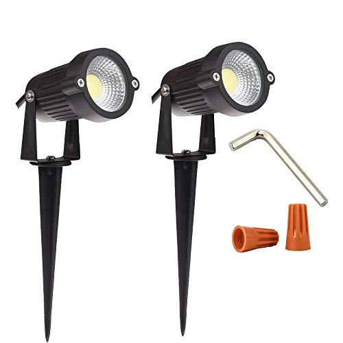 Onerbuy 12V Outdoor LED Lawn Light Lamps Landscape Spotlight 5W COB Garden Patio Wall Yard Path Decorative Lighting with Spiked Stand, Pack of 2 (Cool White)