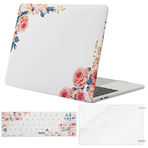 MOSISO MacBook Pro 13 inch Case 2019 2018 2017 2016 Release A2159 A1989 A1706 A1708, Plastic Flower Pattern Hard Case&Keyboard Cover&Screen Protector Compatible with MacBook Pro 13, Peony White Base