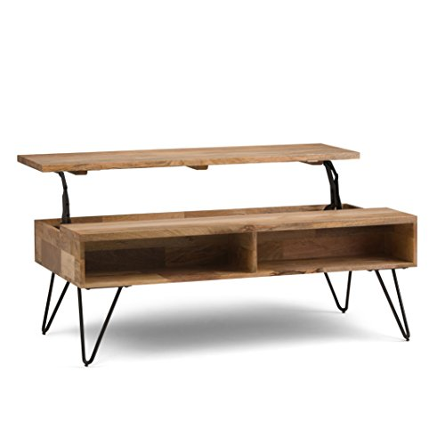 Simpli Home AXCHUN-01 Hunter Solid Mango Wood and Metal 48 inch Wide Mid Century Modern Lift Top Coffee Table in Natural ()