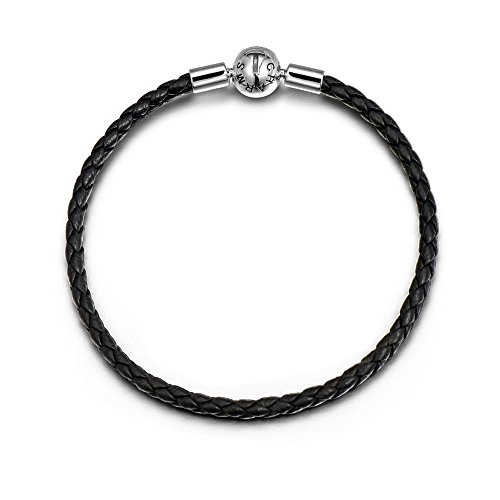 - T400 Jewelers Genuine Leather Charms Bracelets Bangle, Compatible for European Style Beads (Black-Sheepskin) Love Gift