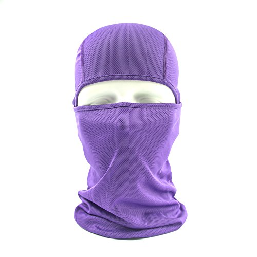 Balaclava Face Mask, HikeValley Adjustable Motorcycle Windproof UV Protection Breathable Unisex Hood Mask (Purple)