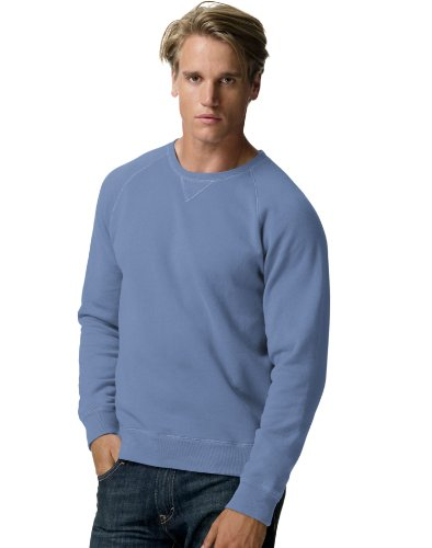 Raglan Crew Sweatshirt - Hanes Mens Nano Premium Lightweight Crewneck Sweatshirt, Vintage Denim, Small