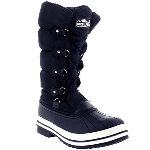 Rain Rubber Sole Puff Snow Nylon Womens Boots Quilted Navy Winter H0wfZEqT