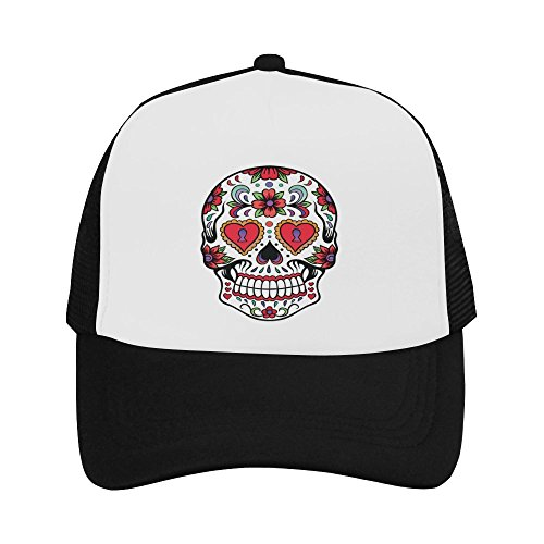 Christmas/New Year Gift Presents Hipster Cool Sugar Skull Classic Vintage Mesh Trucker Cap Baseball Hat (New Year Caps)