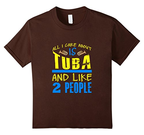 [Kids FUNNY CARE ABOUT TUBA AND LIKE 2 PEOPLE T-SHIRT Band Gift 12 Brown] (2 Person Halloween Costumes For Kids)