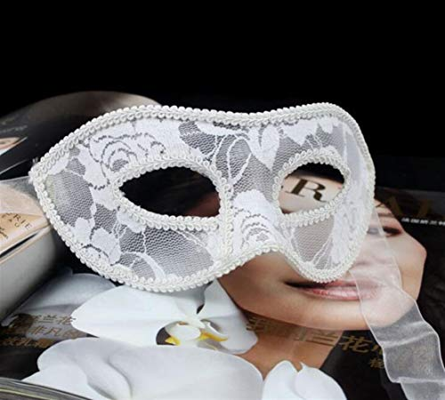 Classic Cute Party Ornament Translucent Lace Halloween Party Sexy Performance Masks Eye Masks(White)