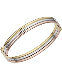 14k Gold Tricolor Triple Bangle Bracelet (7.5 inch)